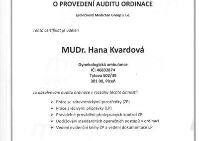 Certifikát o provedení auditu